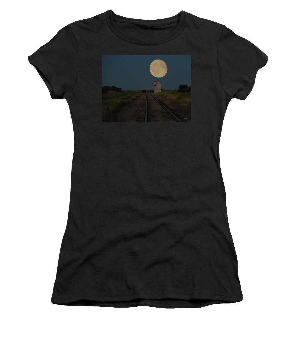 Moon Women's T-Shirt featuring the digital art Harvest Moon by Andrea Lawrence