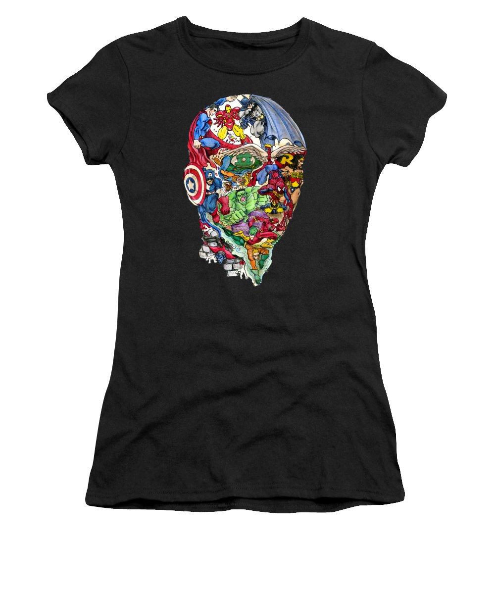 Superhero Women's T-Shirt featuring the drawing Heroic Mind by John Ashton Golden