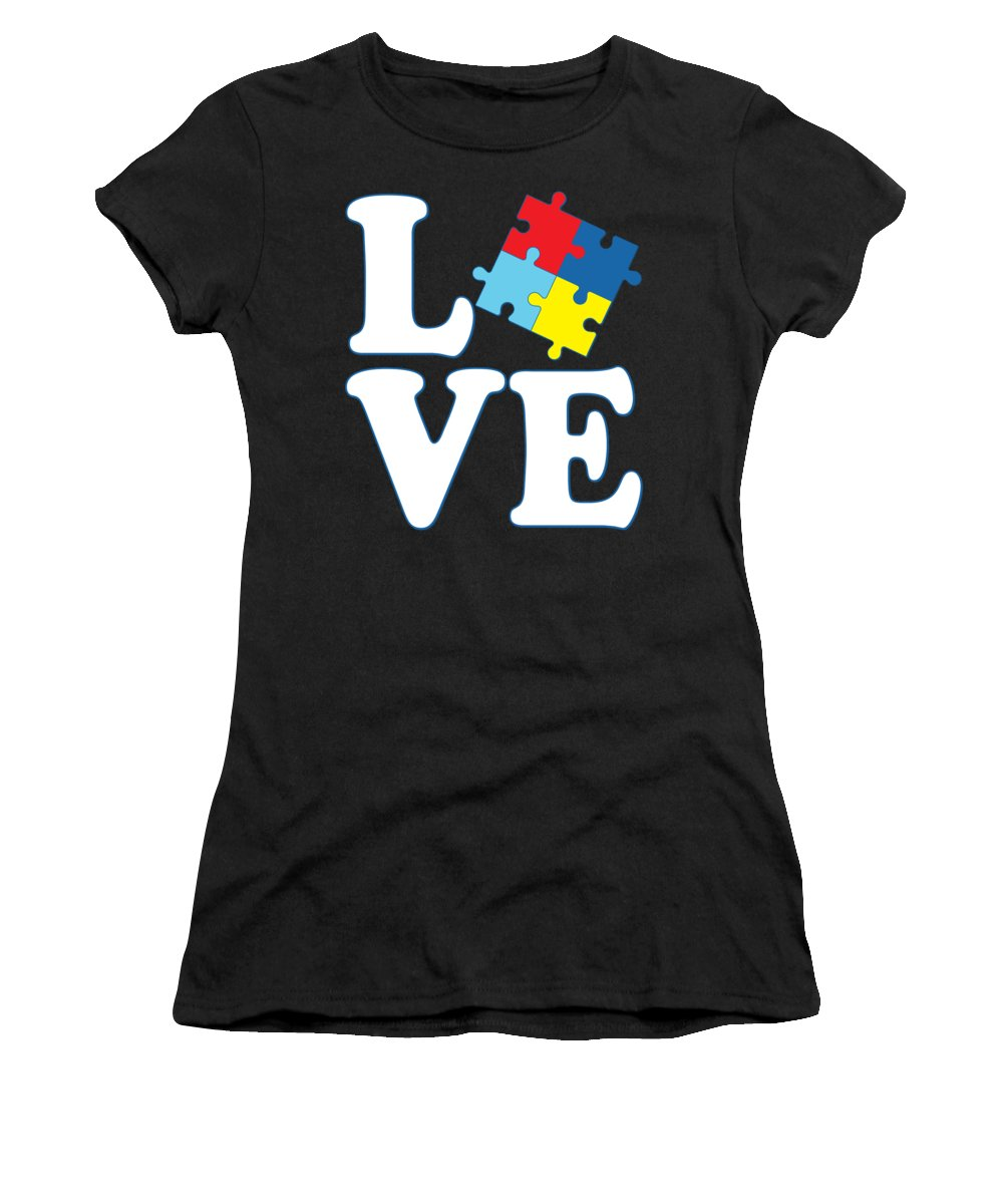Cool Women's T-Shirt featuring the digital art I Love Autism by Flippin Sweet Gear