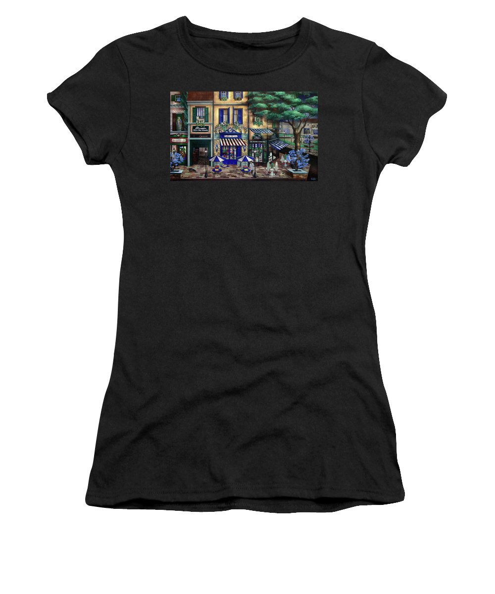 Italian Women's T-Shirt featuring the mixed media Italian Cafe by Curtiss Shaffer
