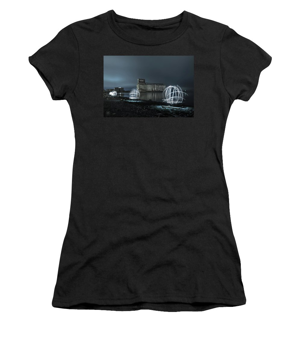 Galagher Pier Women's T-Shirt featuring the photograph Lights in the Night by Dave Niedbala