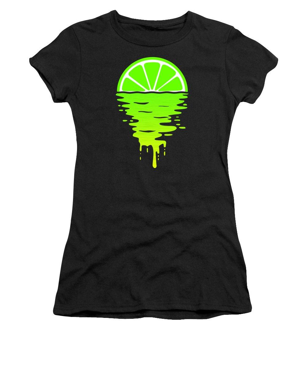 Lemon Women's T-Shirt featuring the digital art Lime Sunset by Filip Schpindel