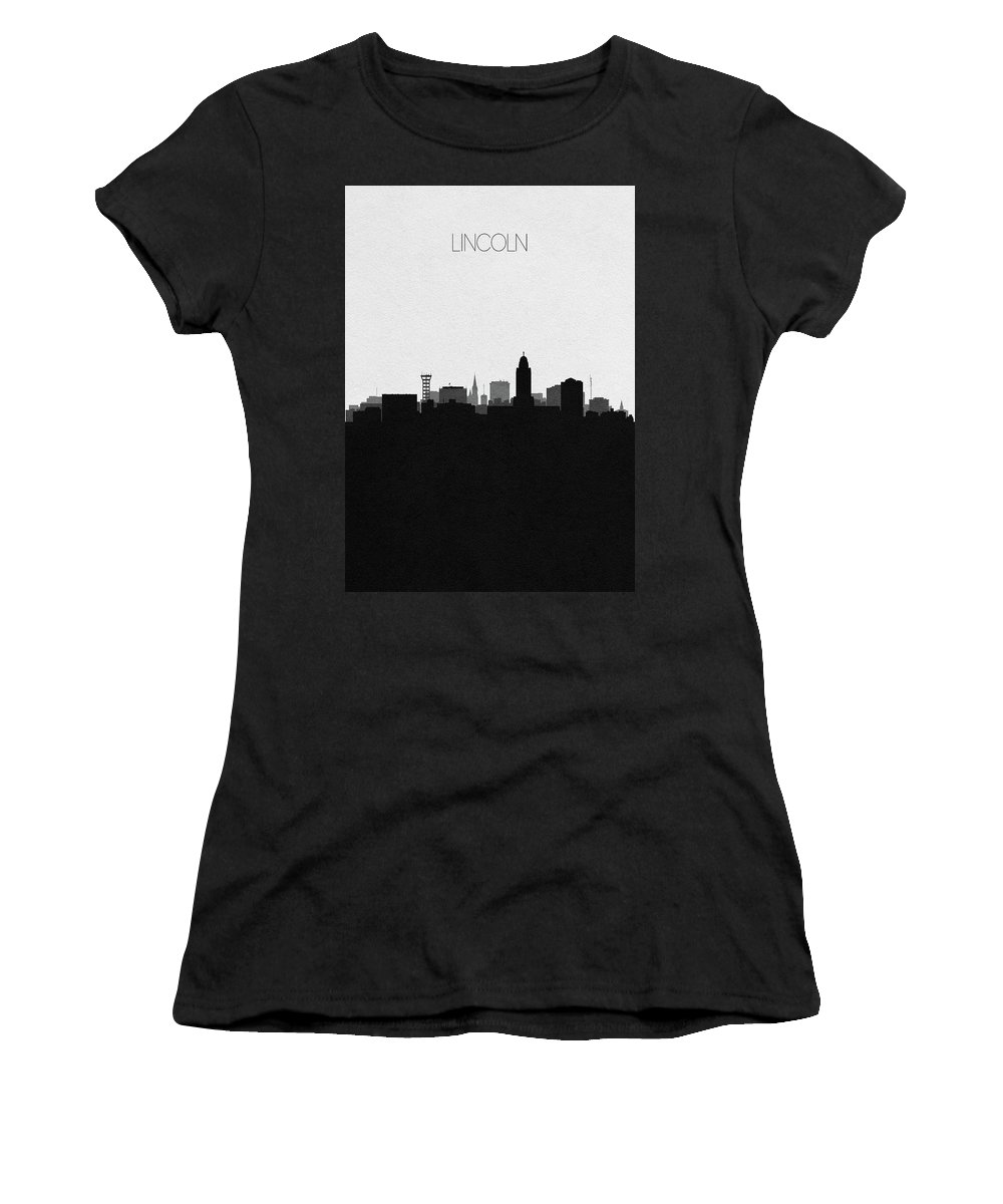 Lincoln Women's T-Shirt featuring the digital art Lincoln Cityscape Art by Inspirowl Design