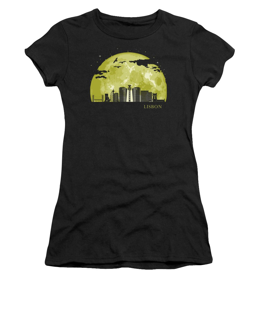 Skyline Women's T-Shirt featuring the digital art LISBON Moon Light Night Stars Skyline by Filip Schpindel