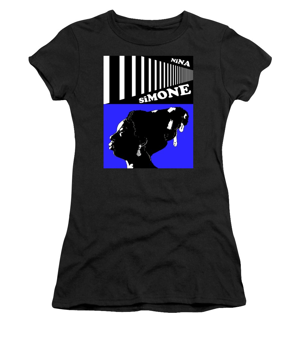 Nina Simone Women's T-Shirt featuring the digital art Nina Simone Blue by Regina Wyatt