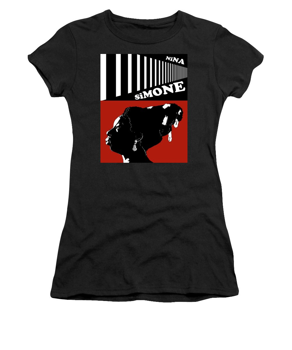 Nina Simone Women's T-Shirt featuring the digital art Nina Simone by Regina Wyatt
