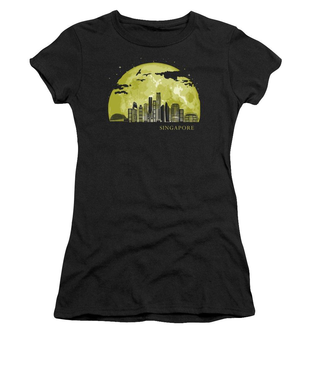 Singapore Women's T-Shirt featuring the digital art SINGAPORE Moon Light Night Stars Skyline by Filip Schpindel