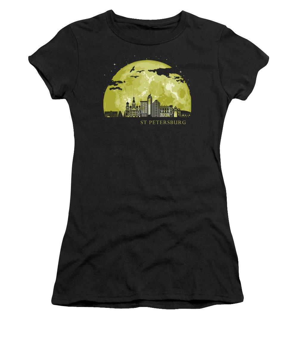 Cccp Women's T-Shirt featuring the digital art ST PETERSBURG Moon Light Night Stars Skyline by Filip Schpindel