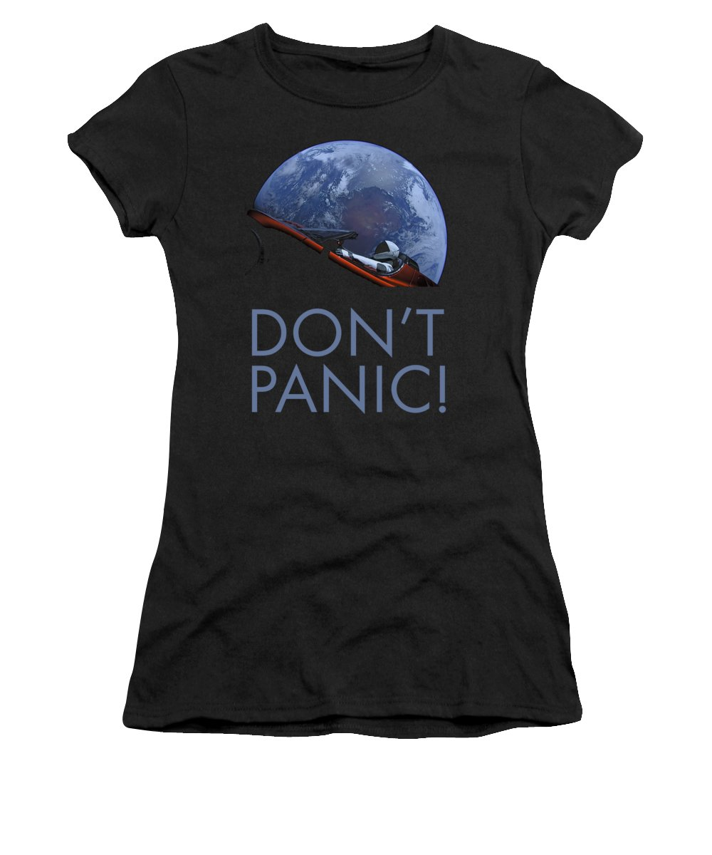 Dont Panic Women's T-Shirt featuring the photograph Starman Don't Panic In Orbit by Filip Schpindel