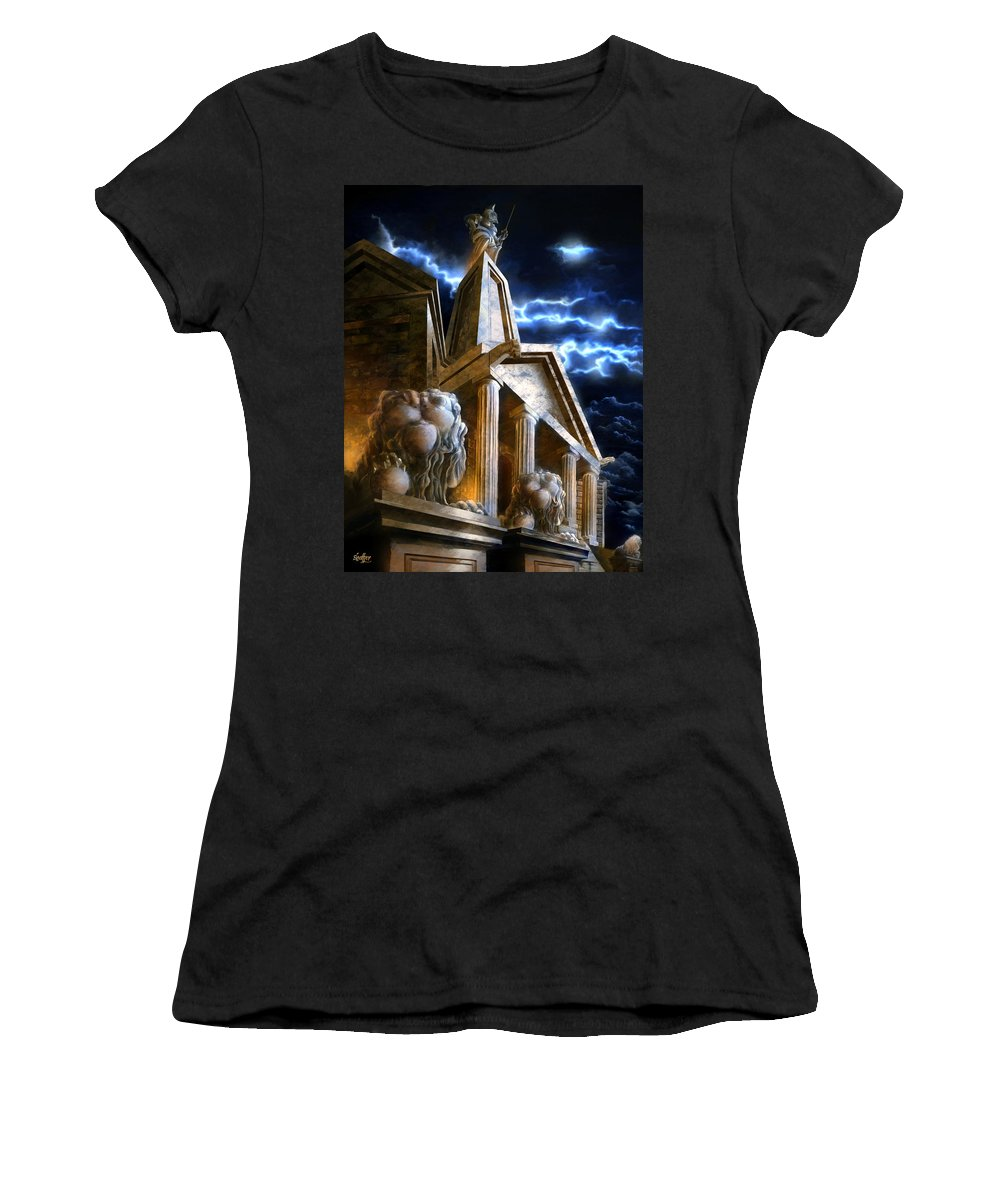 Hercules Women's T-Shirt (Athletic Fit) featuring the mixed media Temple Of Hercules In Kassel by Curtiss Shaffer