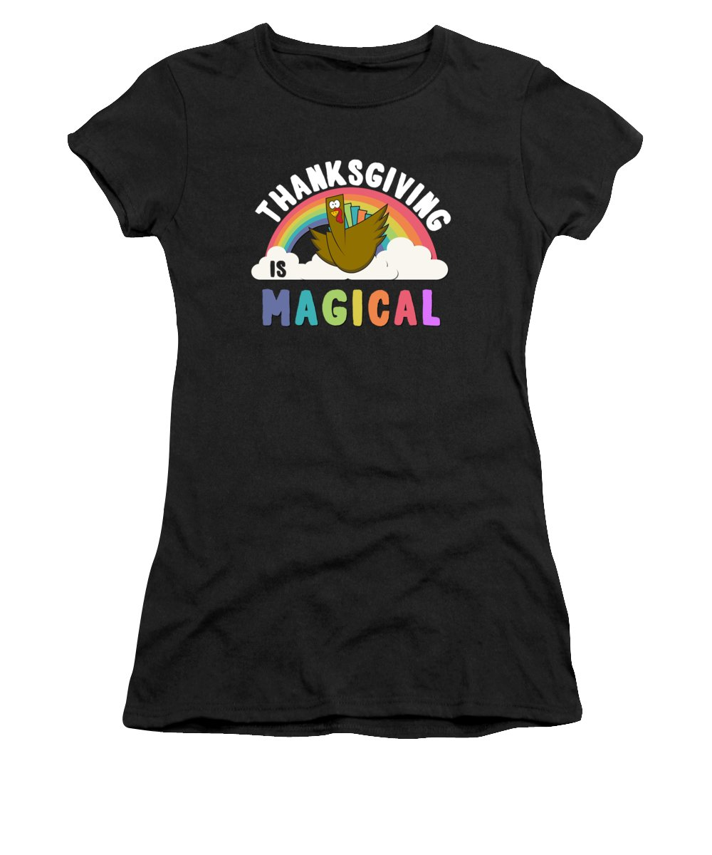 Unicorn Women's T-Shirt featuring the digital art Thanksgiving Is Magical by Flippin Sweet Gear