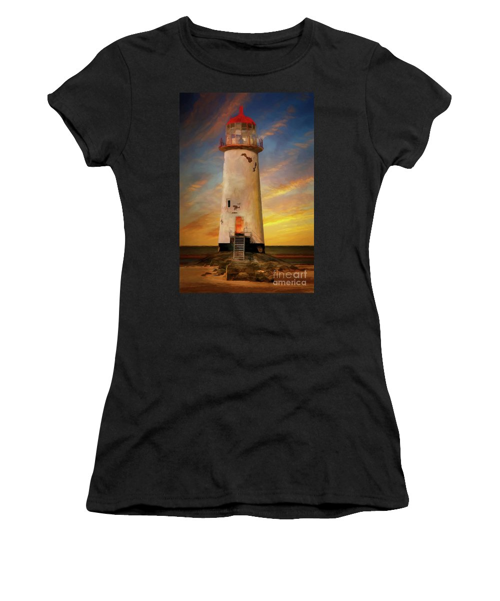 Lighthouse Women's T-Shirt featuring the photograph The Point Of Ayr Lighthouse Sunset by Adrian Evans