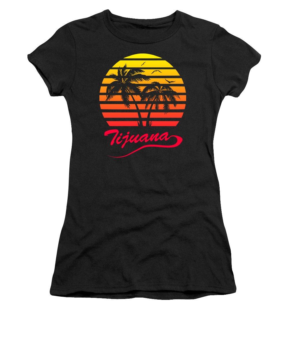 Sunset Women's T-Shirt featuring the digital art Tijuana Sunset by Filip Schpindel