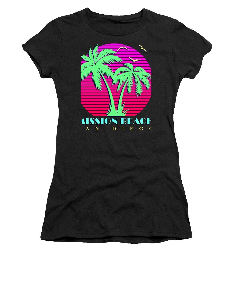 Classic Women's T-Shirt featuring the digital art Mission Beach by Filip Schpindel