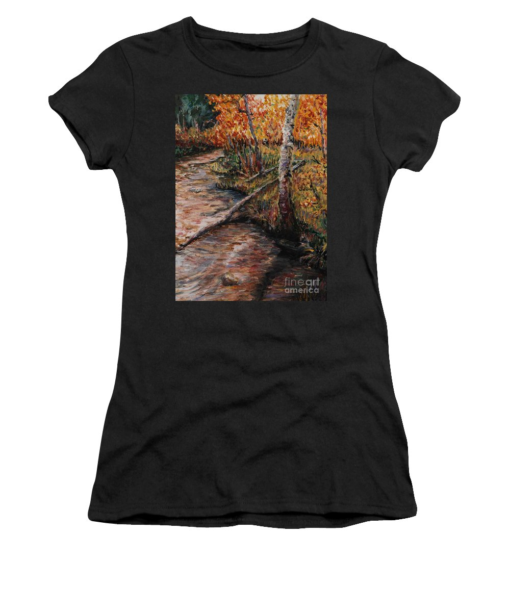 Landscape Women's T-Shirt featuring the painting Autumn Reflections by Nadine Rippelmeyer