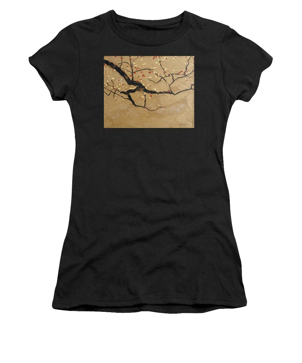 Blooming Branch Women's T-Shirt featuring the painting Branch by Leah Tomaino