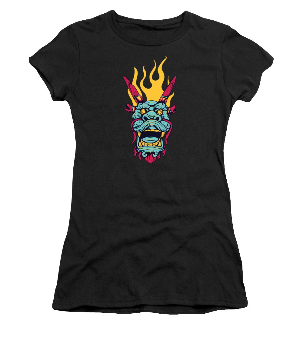 Japanese Women's T-Shirt featuring the digital art Chinese Fire Dragon by Passion Loft