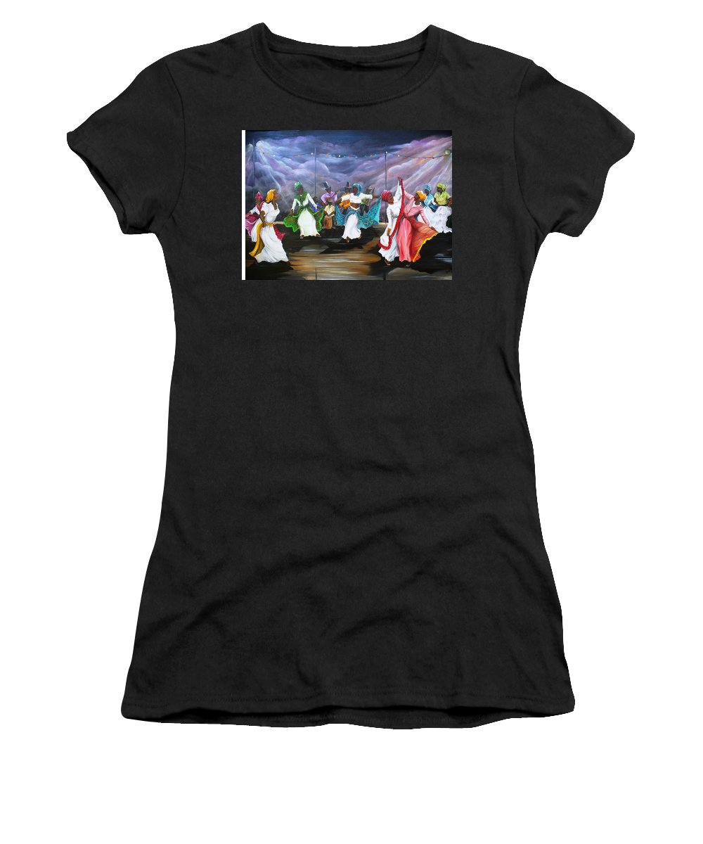 Caribbean Painting Original Painting Folklore Dance Painting Trinidad And Tobago Painting Dance Painting Tropical Painting Women's T-Shirt featuring the painting Dance The Pique by Karin Dawn Kelshall- Best