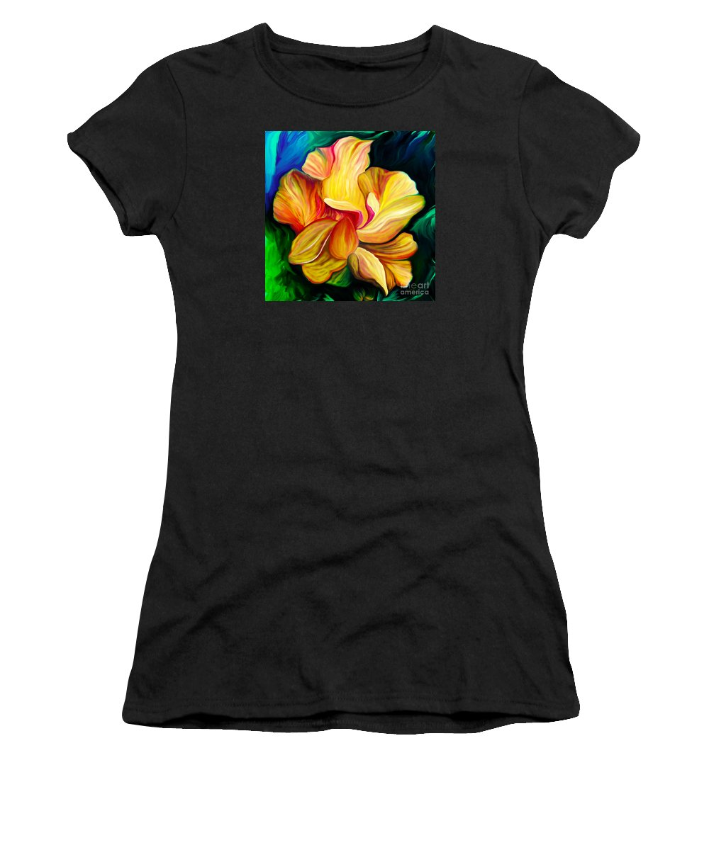 Hibiscus Painting Women's T-Shirt featuring the painting Emergence II by Patricia Griffin Brett