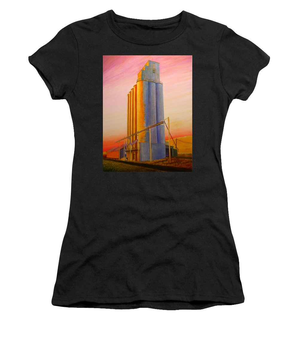 Grain Women's T-Shirt featuring the painting Endicotte Silos by Leonard Heid