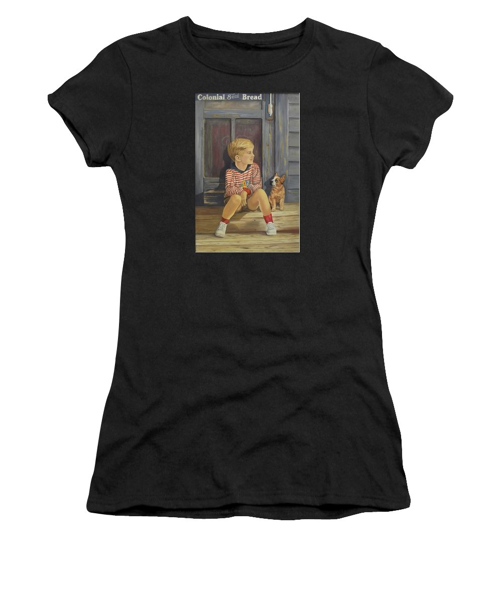 A Young Boy And His Dog Women's T-Shirt featuring the painting Grandpas Country Store by Wanda Dansereau