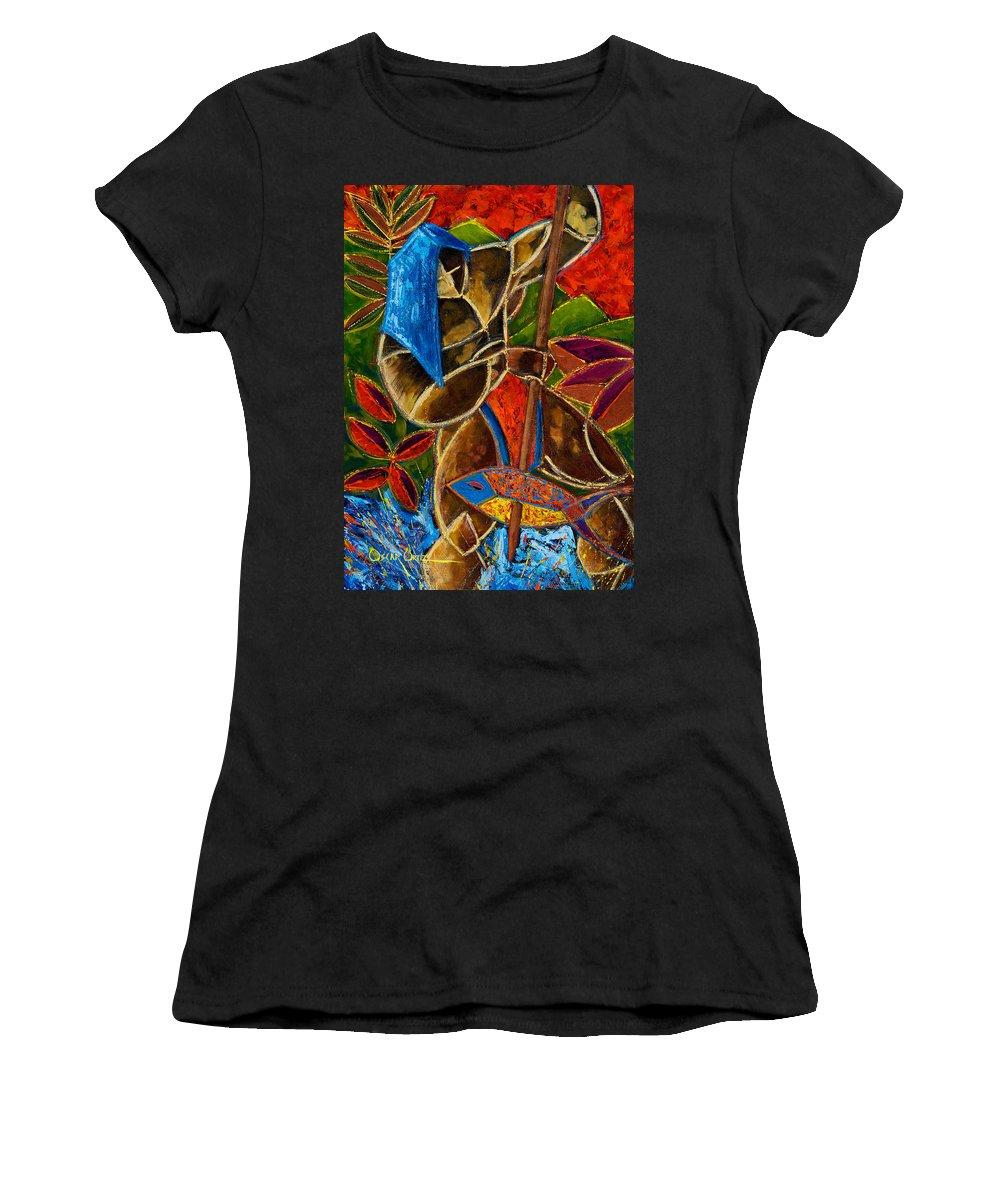 Puerto Rico Women's T-Shirt featuring the painting Guarani... hombre de familia by Oscar Ortiz