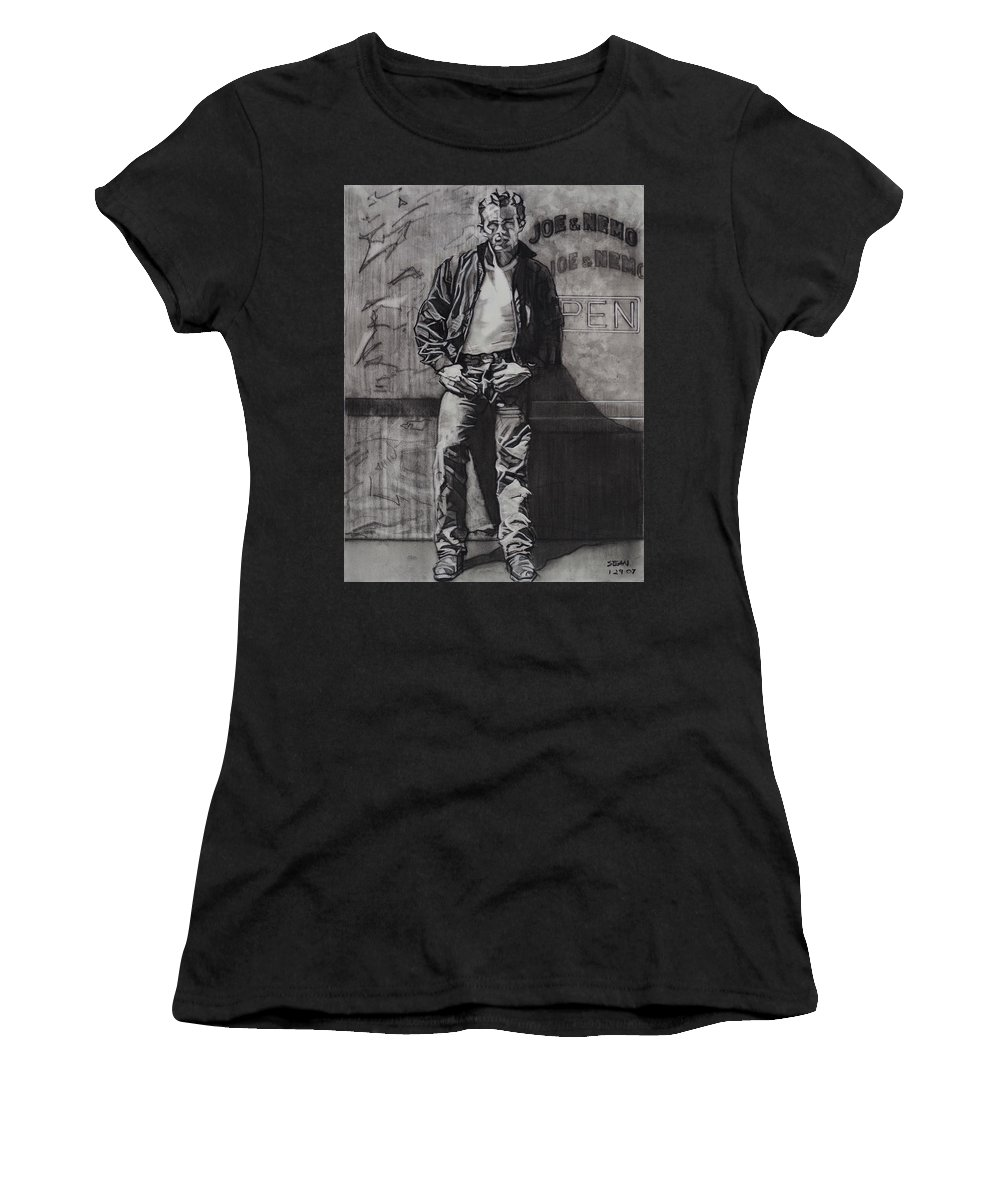 Charcoal On Paper Women's T-Shirt featuring the drawing James Dean by Sean Connolly