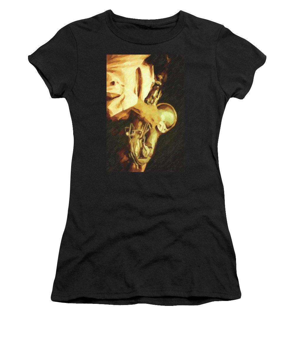 Saxophone Player Women's T-Shirt featuring the digital art Jazz Hands - Saxophone by Regina Wyatt