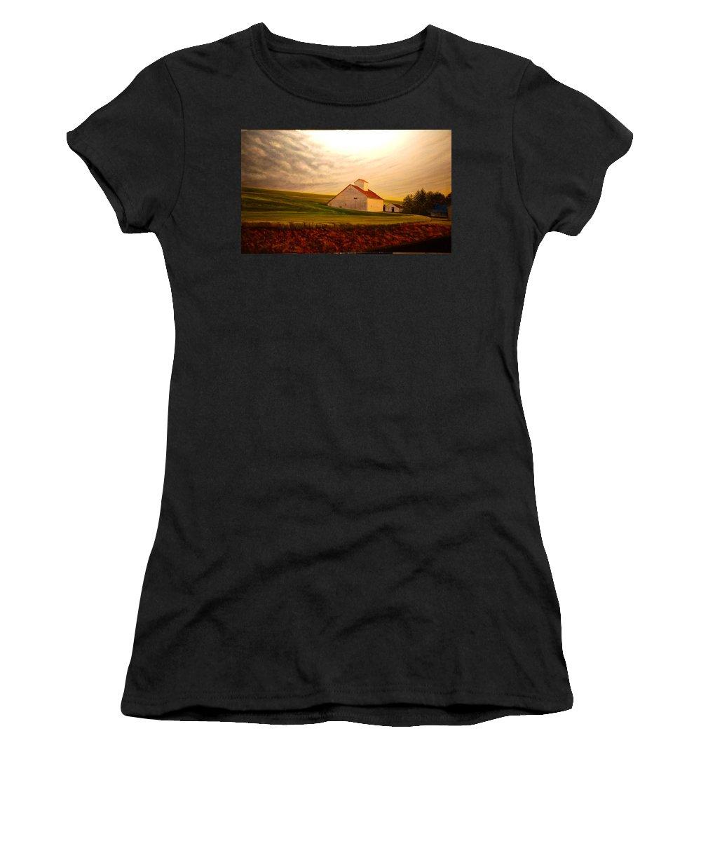 Palouse Women's T-Shirt featuring the painting Kamiak Homestead by Leonard Heid