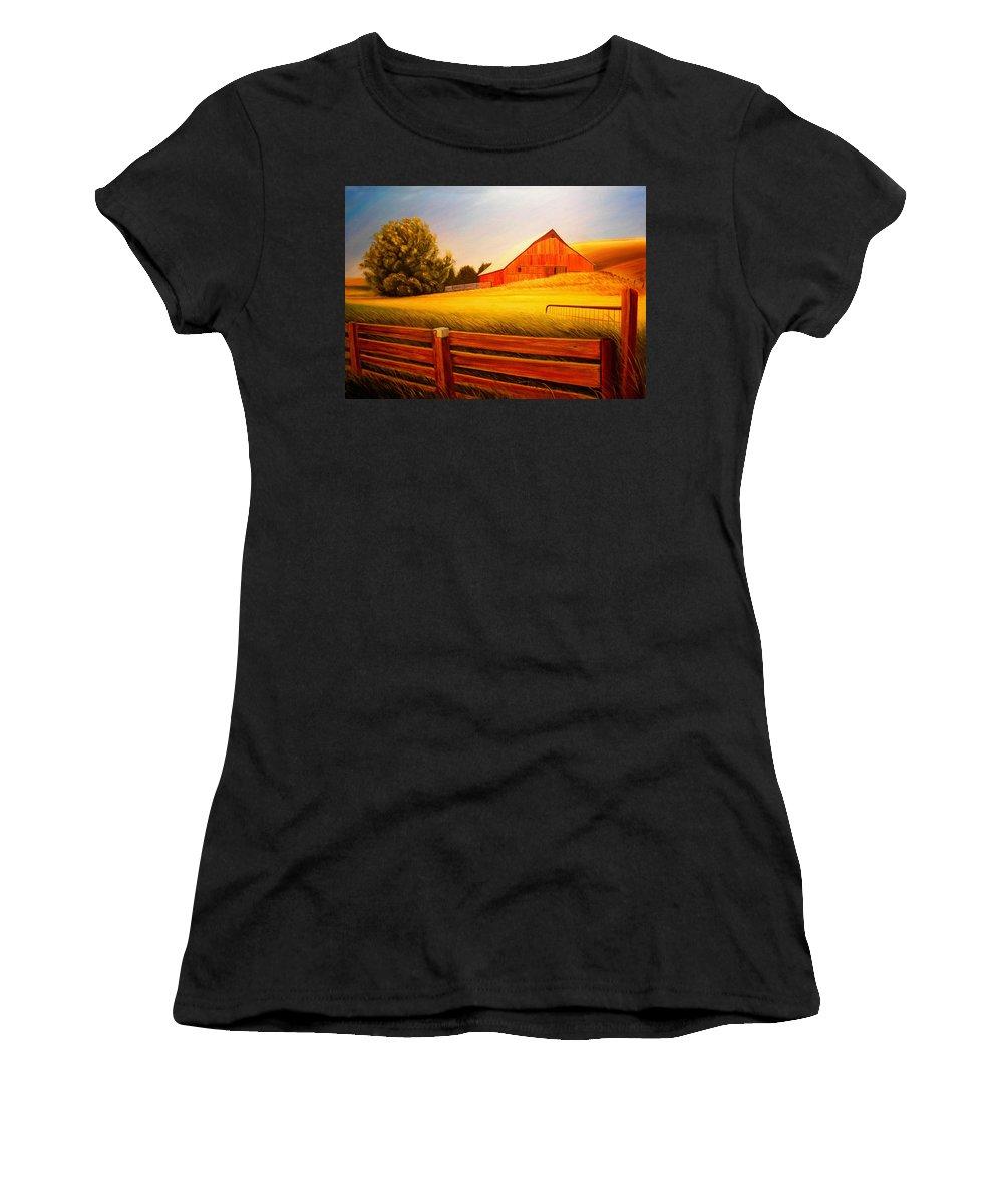 Wheat Women's T-Shirt featuring the painting La Crosse Barn by Leonard Heid