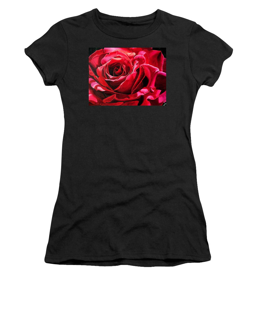 Rose Painting Women's T-Shirt featuring the painting Labelle Rose    by Karin Dawn Kelshall- Best