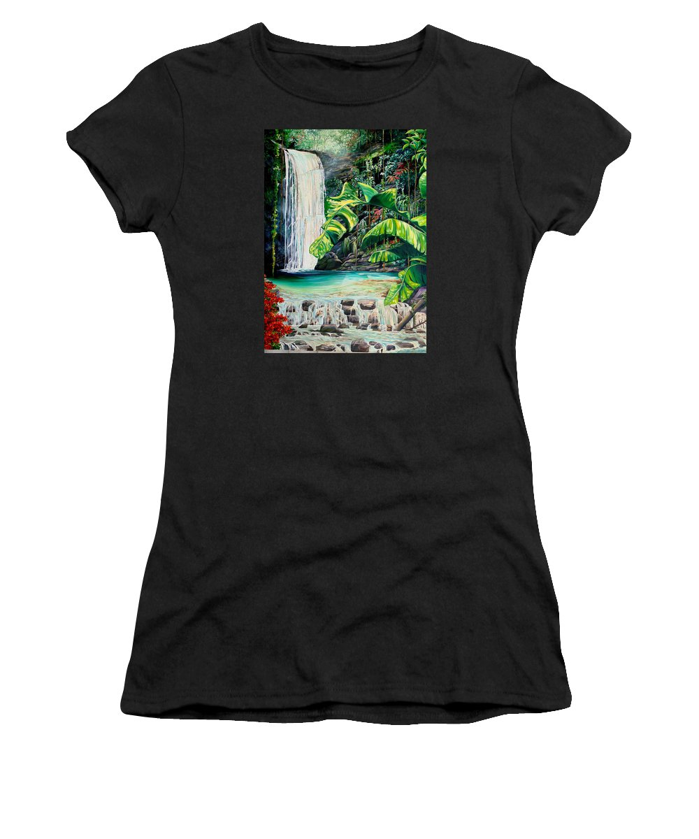 Water Fall Painting Landscape Painting Rain Forest Painting River Painting Caribbean Painting Original Oil Painting Paria Northern Mountains Of Trinidad Painting Tropical Painting Women's T-Shirt featuring the painting Rainforest Falls Trinidad.. by Karin Dawn Kelshall- Best