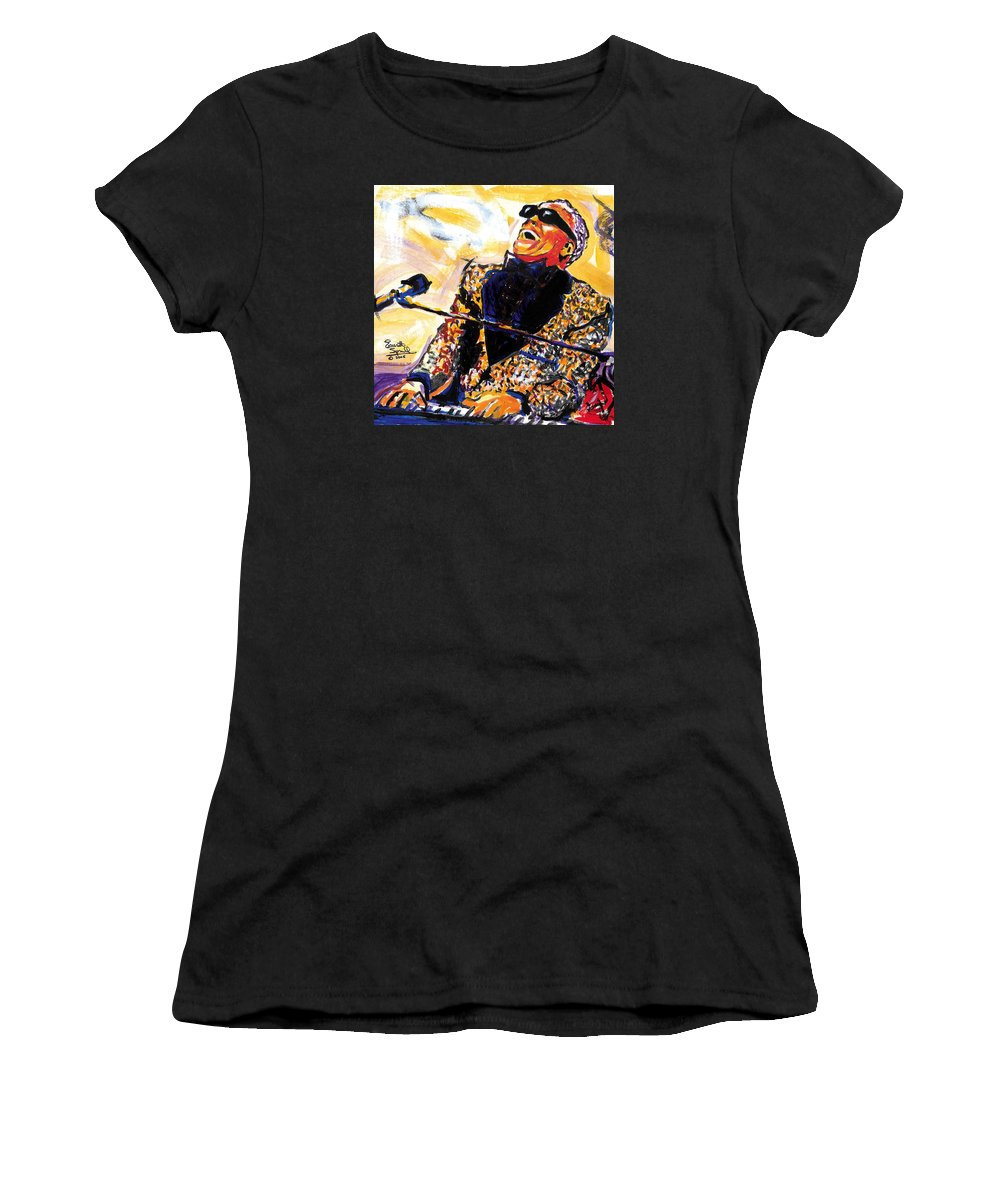 Everett Spruill Women's T-Shirt featuring the painting Ray Charles by Everett Spruill