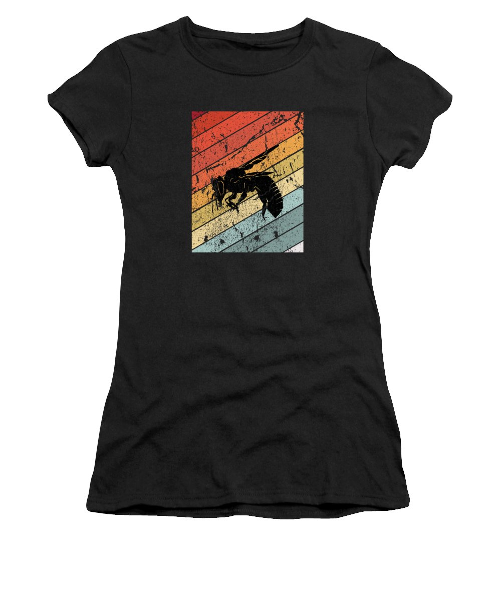 Bee Women's T-Shirt featuring the digital art Retro Bee Wasp Insect Gift by J M