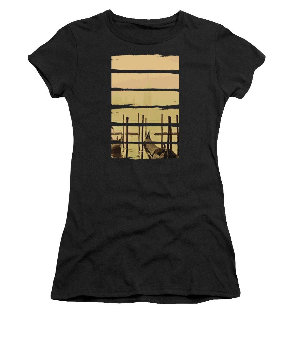 Fishing Women's T-Shirt featuring the digital art River Boat Scenery by Jacob Zelazny
