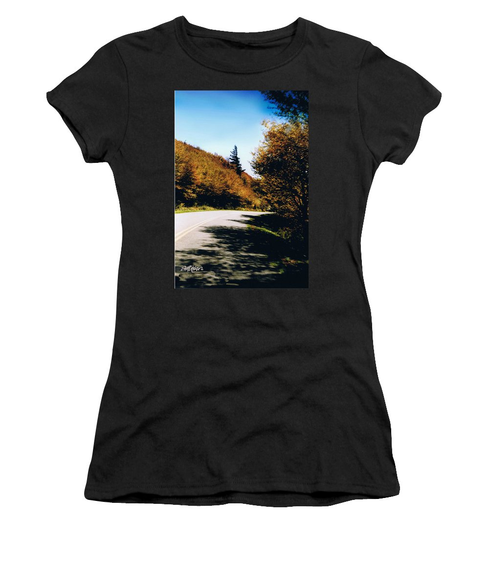 High In The Great Smoky Mtn. As You Round A Curve Stands This Noble Spruce. Women's T-Shirt featuring the photograph Single Spruce by Seth Weaver