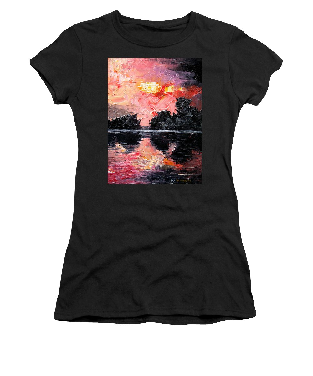 Lake After Storm Women's T-Shirt featuring the painting Sunset. After storm. by Sergey Bezhinets