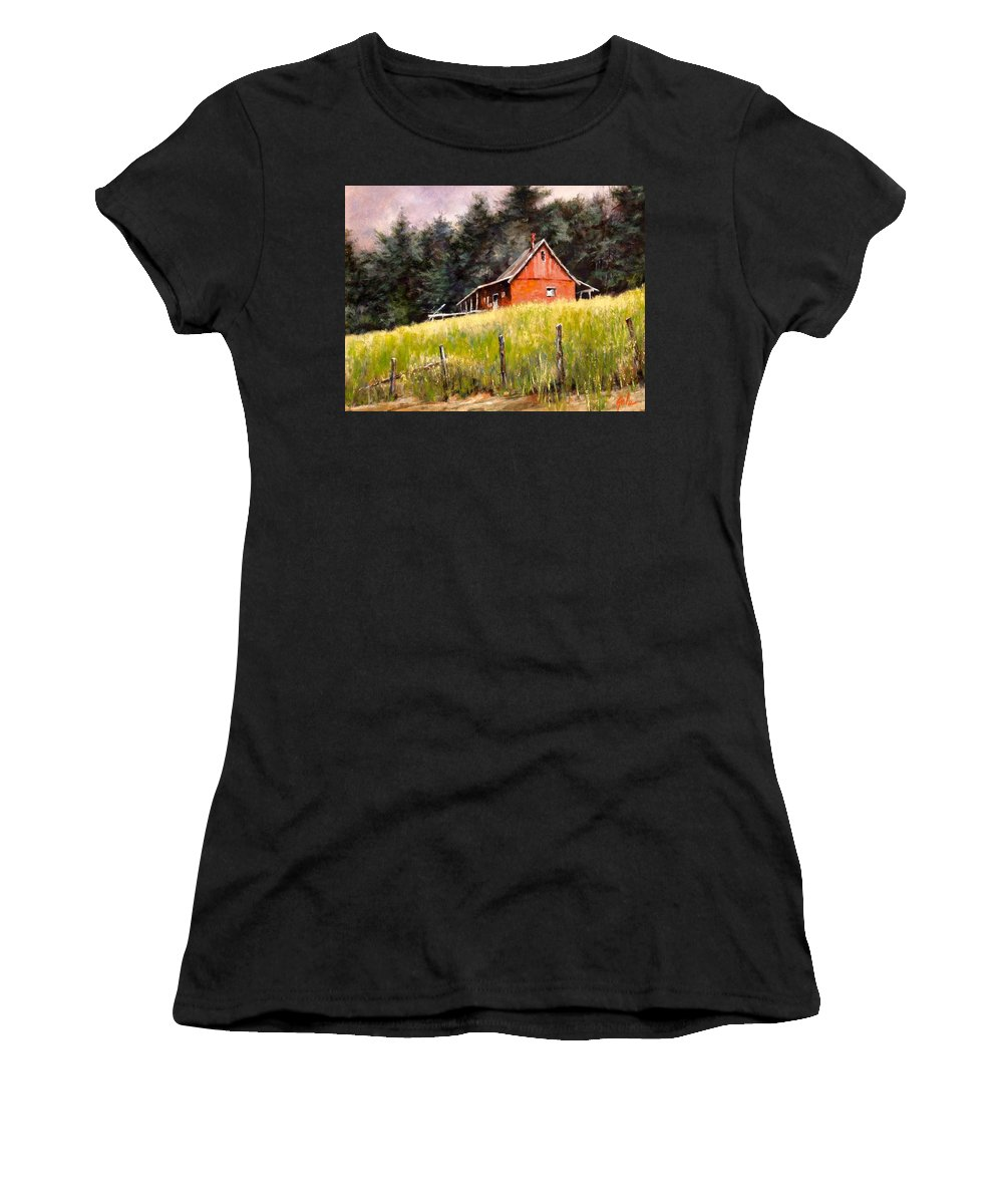 Landscape Women's T-Shirt featuring the painting The Red Coach Stop by Jim Gola