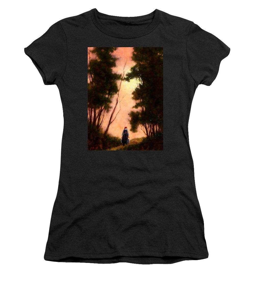 Landscape. Oil Painting Women's T-Shirt featuring the painting The Walk Home by Jim Gola