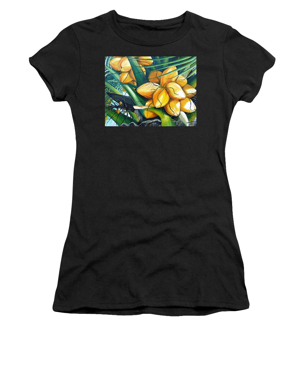 Coconut Painting Botanical Painting  Tropical Painting Caribbean Painting Original Painting Of Yellow Coconuts On The Palm Tree Women's T-Shirt featuring the painting Yellow Coconuts by Karin Dawn Kelshall- Best