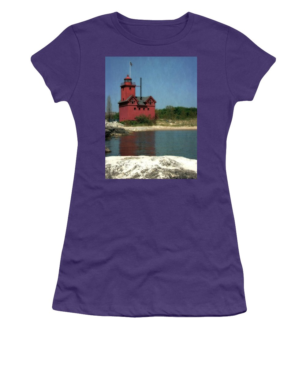 Michigan Women's T-Shirt (Athletic Fit) featuring the photograph Big Red Holland Michigan Lighthouse by Michelle Calkins