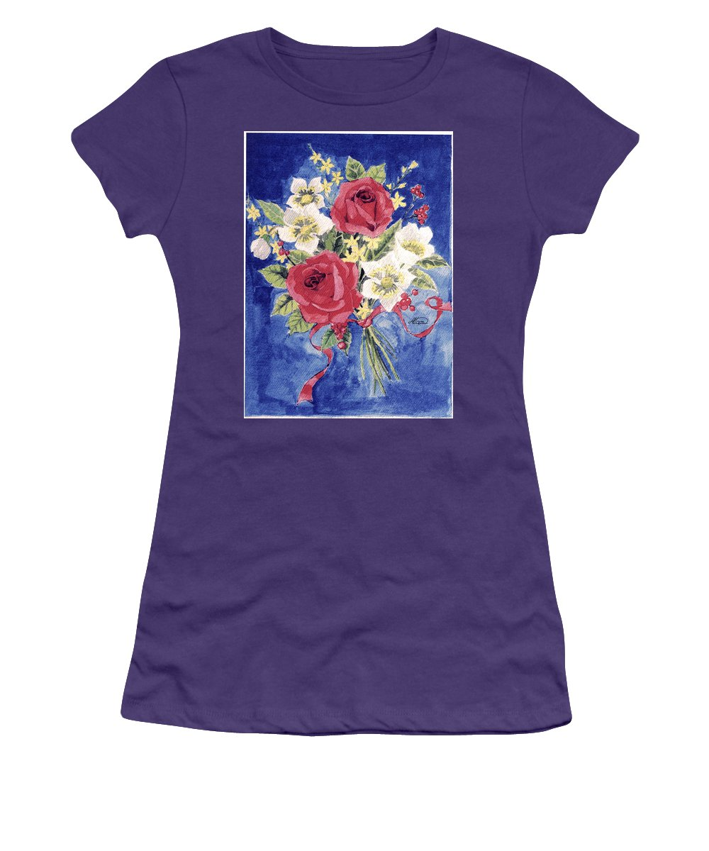 Bunch Of Flowers Women's T-Shirt (Athletic Fit) featuring the painting Bunch Of Flowers by Alban Dizdari