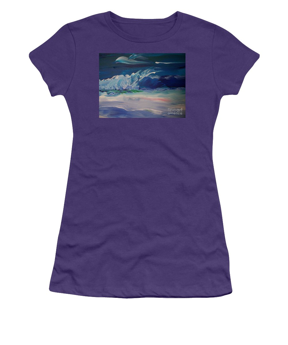 Impressionistic Women's T-Shirt (Athletic Fit) featuring the painting Impressionistic Abstract Wave by Eric Schiabor