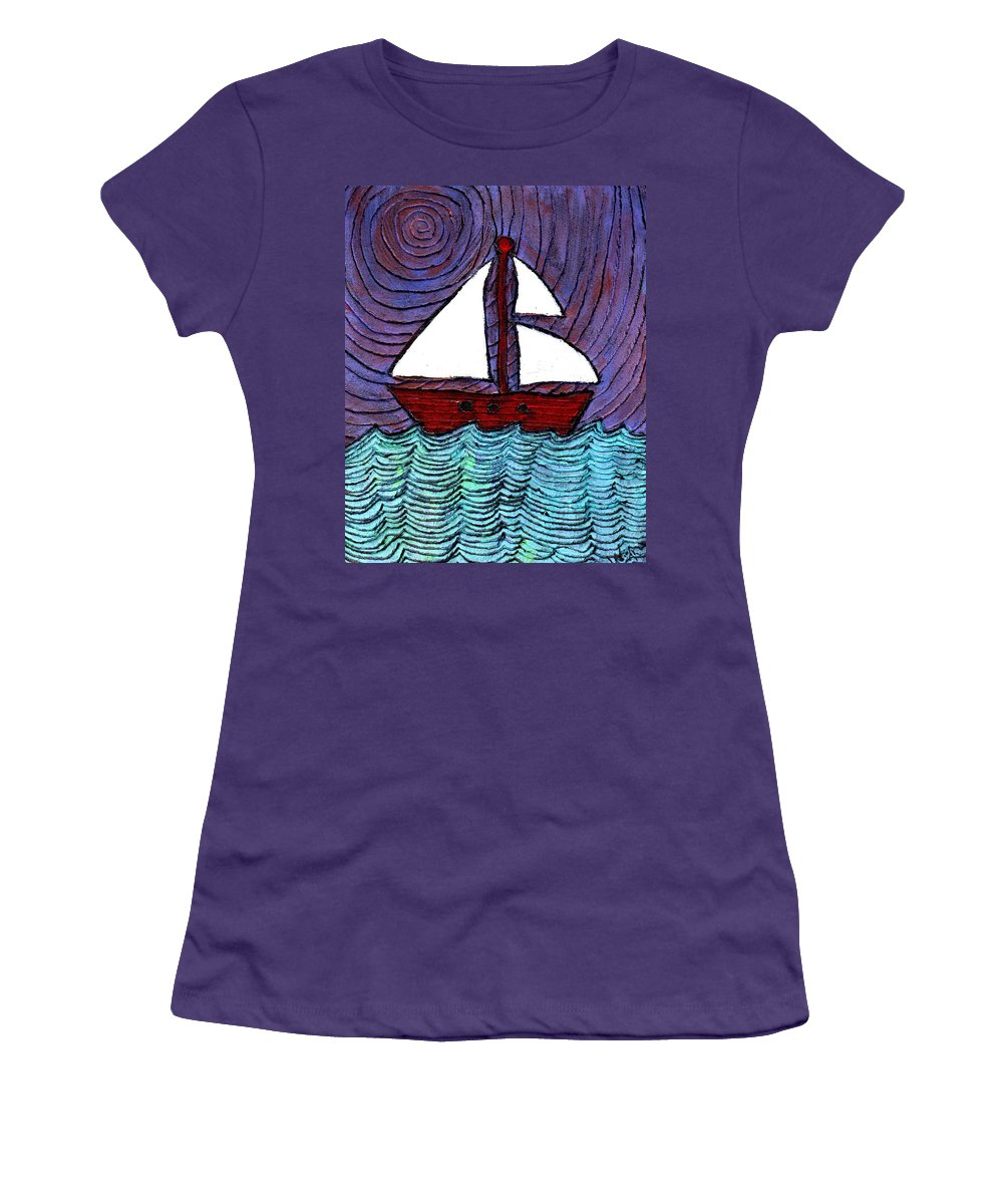 River Women's T-Shirt (Athletic Fit) featuring the painting On The River by Wayne Potrafka