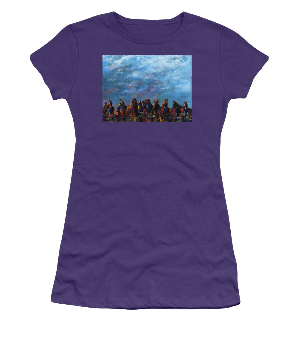 Horses Women's T-Shirt (Athletic Fit) featuring the painting Stampede by Frances Marino