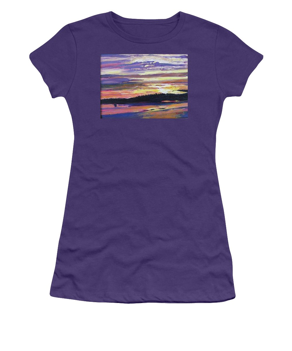 Sunset Women's T-Shirt (Athletic Fit) featuring the painting Sunset by Richard Nowak