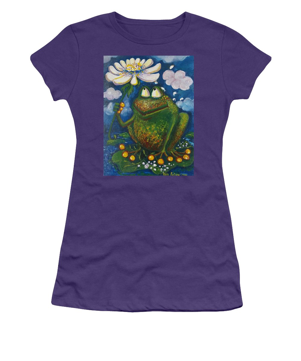 Frog Women's T-Shirt (Athletic Fit) featuring the painting Frog In The Rain by Rita Fetisov