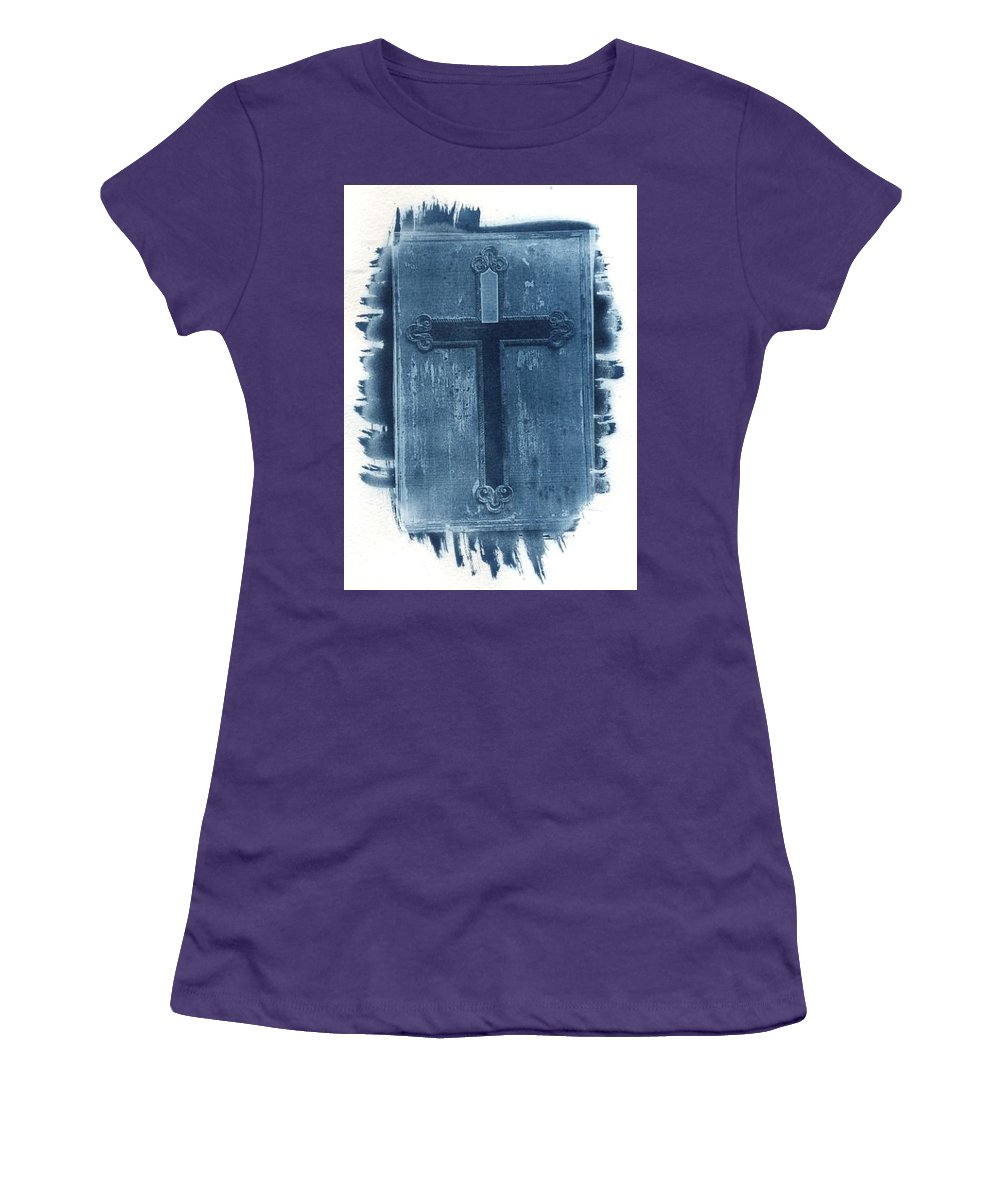 Cyanotype Women's T-Shirt (Athletic Fit) featuring the photograph Blue Cross by Jane Linders