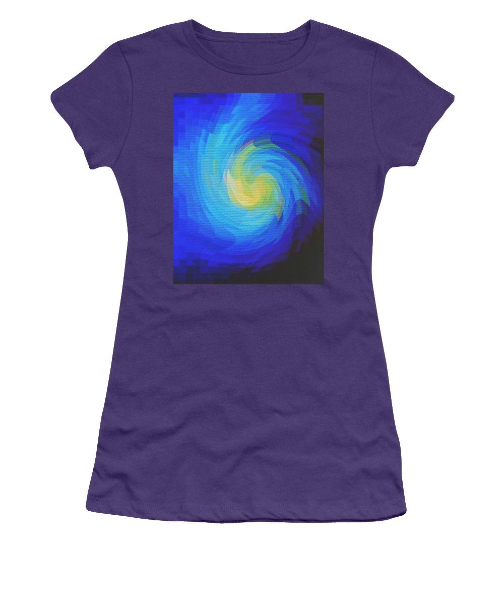Blue Women's T-Shirt (Athletic Fit) featuring the digital art Blue Galaxy by Ian MacDonald
