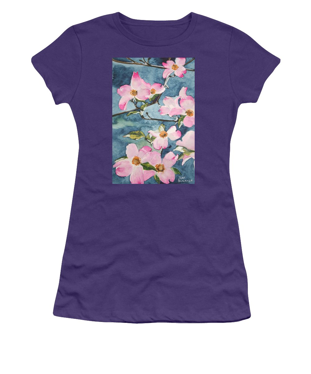 Flowers Women's T-Shirt (Athletic Fit) featuring the painting Blushing Prettily by Jean Blackmer